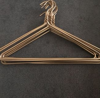 Set of 9 Anodized Aluminum Heavy Duty Gold Clothes Hangers
