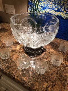 Crystal Punch Bowl W/ 12 Punch Glasses - L.E. Smith Glass Company