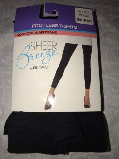 Sheer breeze footless tights by Gildan black queen size - new!