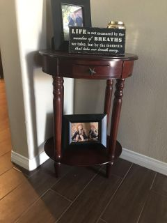 Cherry wood small decorative table with small drawer