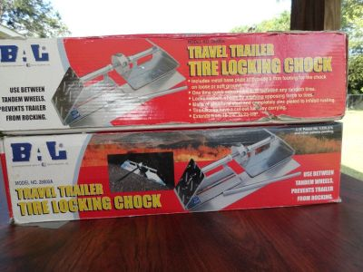 TRAVEL TRAILER TIRE LOCKING CHOCK