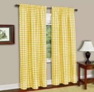 Yellow Buffalo Check Curtains Pair, 42x84