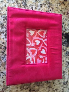 Suede and Satin Box with picture frame in lid. 11 x 9