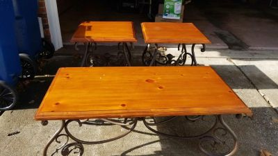 Set of coffee table and end tables