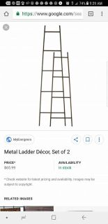 New metal ladder decor set of 2. Farmhouse vintage look