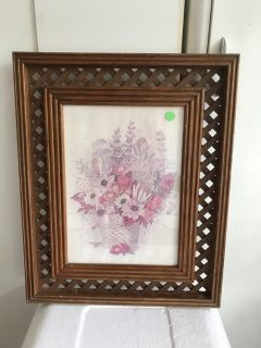Pink Flowers in Basket Picture 17 x 21