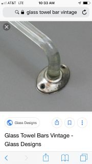 Vintage glass deco style towel bar with chrome holders price firm one of a kind