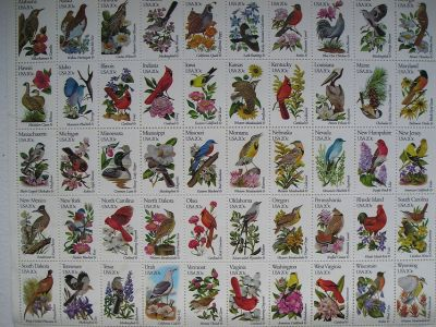 Sheet of 50 State Bird and Flower 20 Cent US Postage Stamps