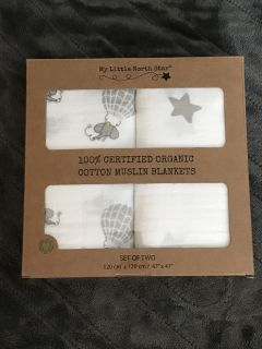 New in box organic cotton muslin swaddle blankets.