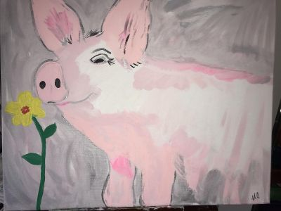 16 by 20 pig canvas $10