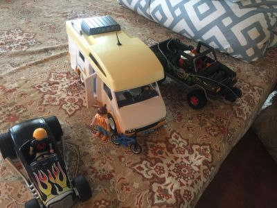 Playmobil cars- camper, hot Rod, jeep
