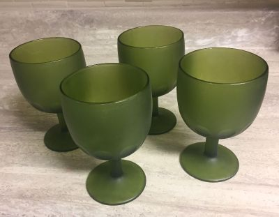 Set of 4 Large Vintage Frosted Green Glass Goblets. CP.