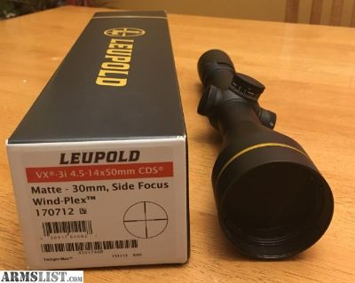 For Sale: Leupold VX3i 4.5-14x50 AO W/CDS WINDPLEX reticle 170712