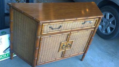 Unique Vintage Rattan/ Wicker Cabinet