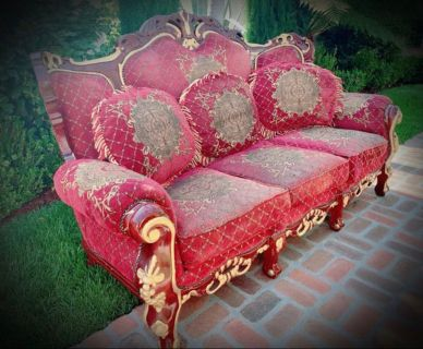 Regal/Royal Red Burgundy and Gold French Provincial/Victorian Style LIVING ROOM SET, Couch, Love Seat, Chair