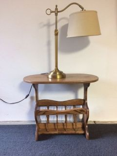 SOLID OAK TABLE AND LAMP