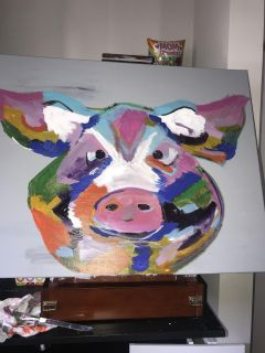 Pig canvas 30 by 24 $20