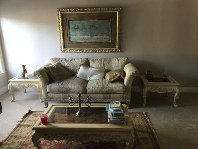 French Provincial Beautiful Couch, tables, and Picture