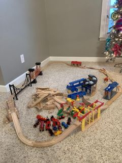 HUGE TRAIN SET with tons of track, (3) Bridges Brio Trains!all included in picture!!! Mixed Set!!PPU