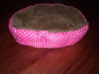 """Brand New, Never Used Pink Polka Dot Pet Bed w/ Brown Fuzzy Interior Approx 14"""" $4"""