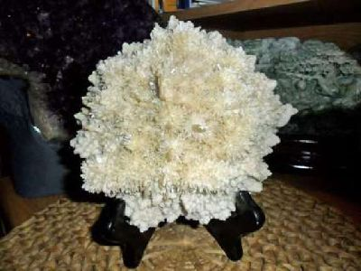 Exceptional and Beautiful Full Cluster of Selenite Green Crystal Sprays on Matri