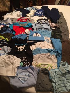 Huge 0-3 month boys baby clothes lot. Over 50 items