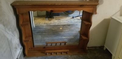 Mirror with shelves good for dresser tops or back of bed some markings on it