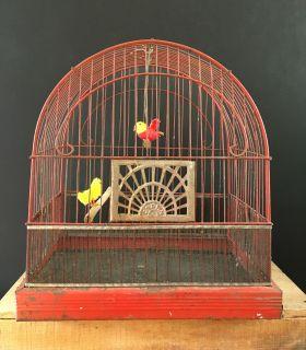 Original red 1940s Crown birdcage with deco design