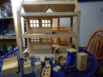 Large Wooden Doll House with accessories