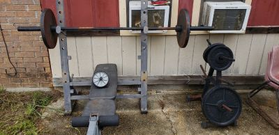 Weight bench and weight rack.