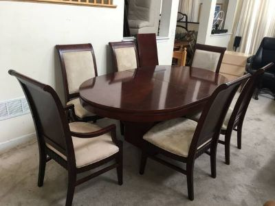 6pc Cherry Oval Upholstered Dining Table set