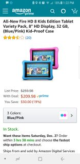 """2 Amazon Fire Tablets 8"""" with kids case and warranty"""