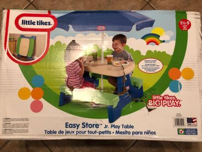 New in box, little tykes easy store jr play table with umbrella