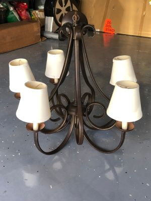 5 Light Chandelier with Linen Shades