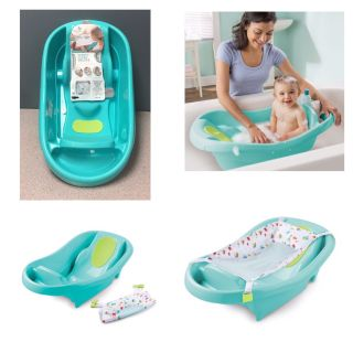 Summer Infant Comfy Clean Deluxe Newborn to Toddler Bath Tub, Teal