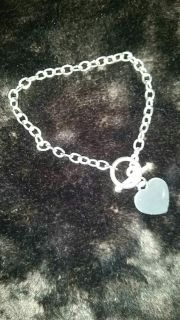 .925 Silver Heart & Toggle Braclet