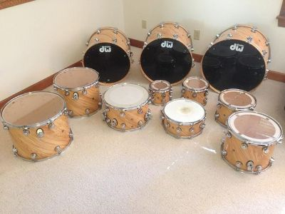 DW Collector Series Exotic Wood Shell Pack Twisted Olive One Of A Kind 11 Pc Set  $2400
