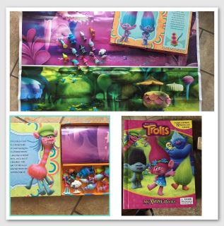 """TROLLS- BOARDBOOK STORYBOOK- 12 FIGURINES & PLAY MAT 24"""" x 36"""" - MAT AND FIGURES STORE IN BACK OF BOOK - played with few times. EUC"""
