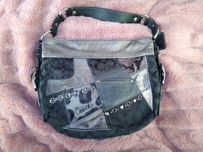 Coach Zoe Patchwork Suede Signature Logo 12901 Black Multi Leather Hobo Bag