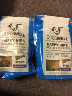 2 Bags of dogs well happy hips supports hip and joint wellness with glucosamine and chondroitin