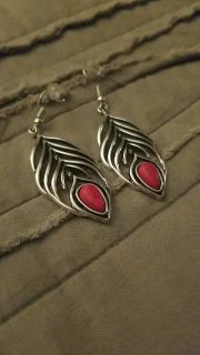 Leaf and red stone earrings
