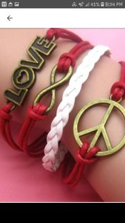 SUMMER SALE NEW LOVE PEACE and Infinity Leather Charm Bracelet