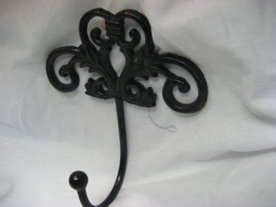 Antique-Black-Rod-Iron-Hook-Filigree-French-Country-D...