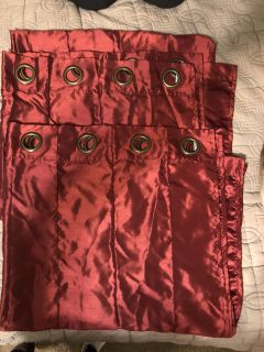 2 panels (one pair) of burgundy curtains 84