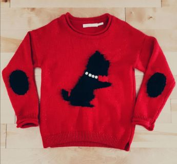 Deux par deux breathtaking amazing quality red shimmer sweater with fuzzy dog and jewel necklace Christmas holiday like new worn once size 6