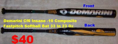 DeMarini 2014 CF6 Insane Fastpitch Softball Bat (-10) with A D-Fusion Handle. See Condition Below
