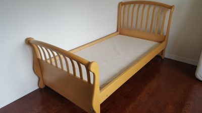 "SOLID WOOD TWIN BED MAPLE NATURAL MADE IN ITALY BY ""PALI"" DESIGN - CAN INCLUDE MATTRESS AND BU..."