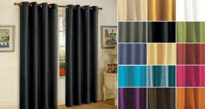 """Mira solid faux silk 84"""" grommet top curtains"""