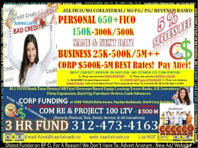 BUSINESS 50K - 1Ms , RE NO LIMIT 100LTV! PERSONAL 100K-450K! LINES OF CREDIT, LOANS,STATED!  420 $