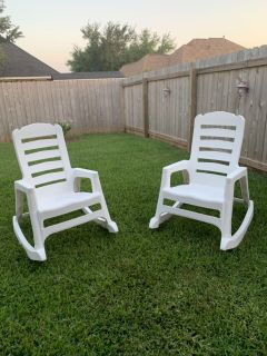 Outdoor rocking chairs asking $20.00 each.
